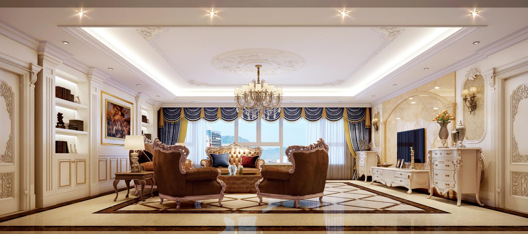 简欧风格四居室客厅吊顶装修效果图大全2014图片