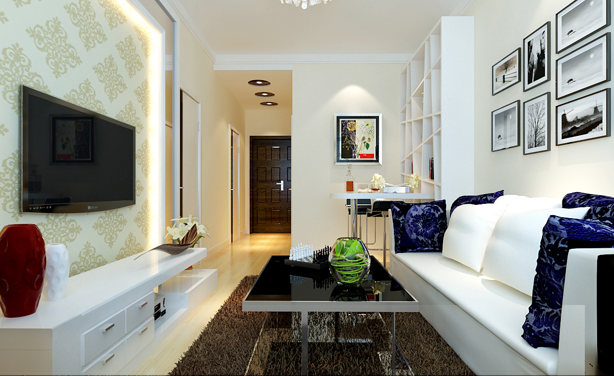 现代简约50平米一居室客厅装修效果图大全2014图片