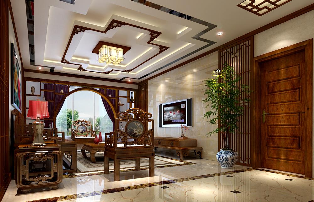 中式风格客厅吊顶装修图片欣赏