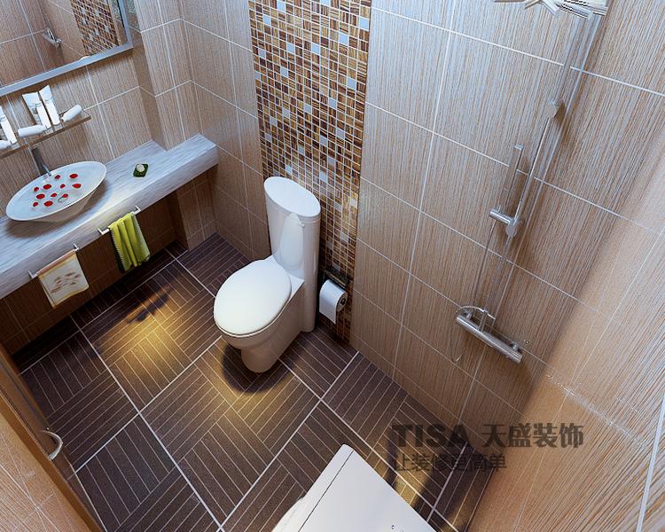現代簡約三居室衛生間影視墻裝修效果圖
