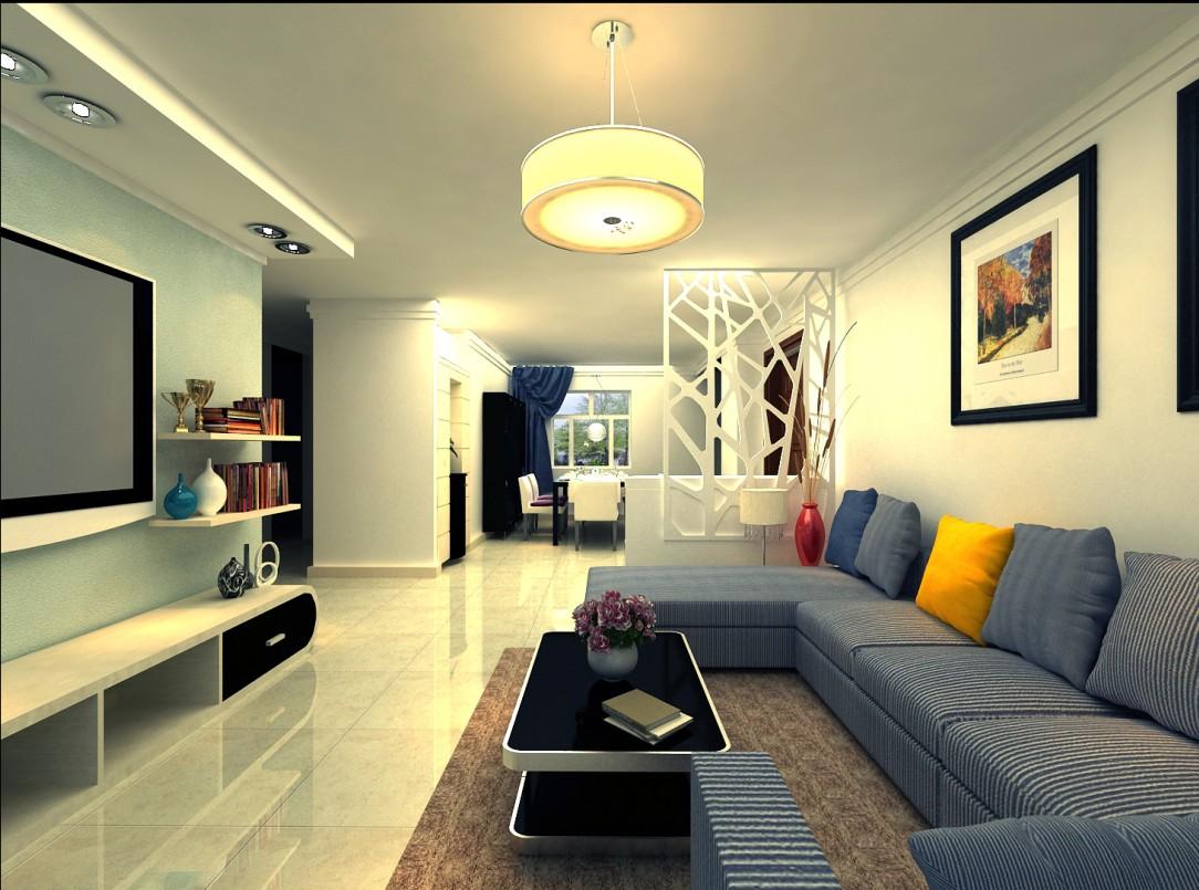 现代简约三居室客厅影视墙装修图片高清图片