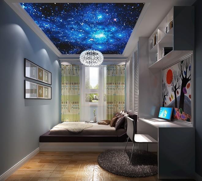 田园风格二居室卧室吊顶装修效果图大全2014图片