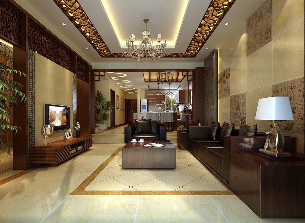 中式风格三居室客厅屏风储物柜装修效果图欣赏