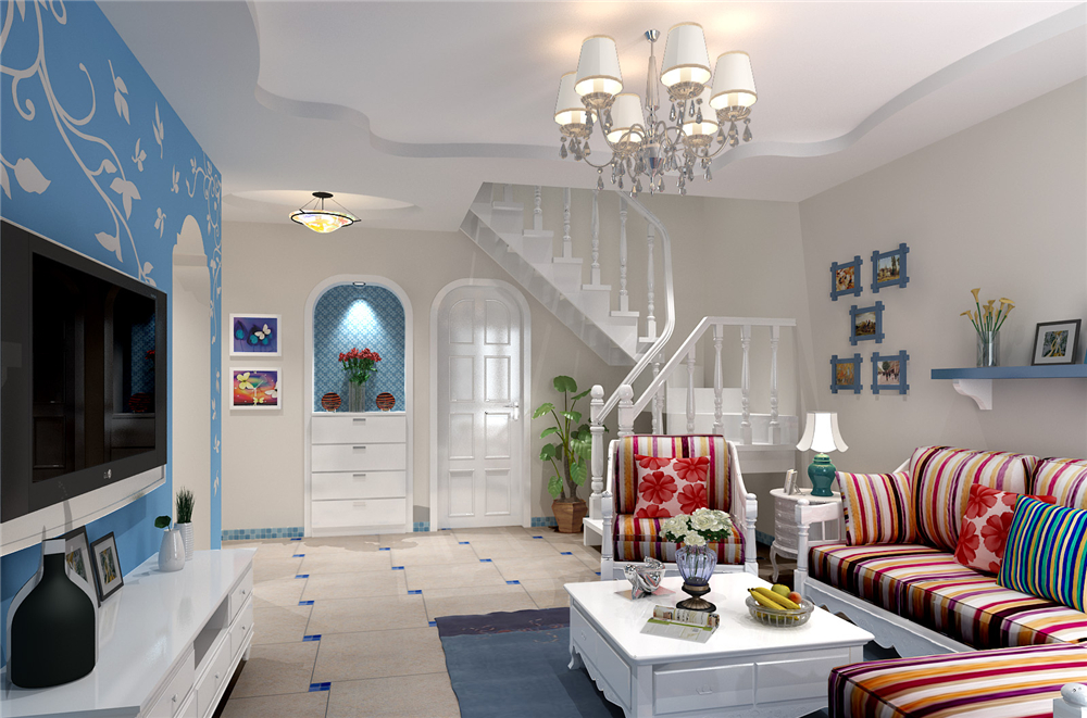 地中海风格三居室客厅吊顶效果图
