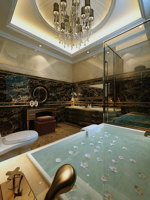 简欧风格五居室卫生间浴缸装修效果图欣赏