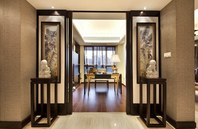 中式风格四居室书房灯具装修效果图