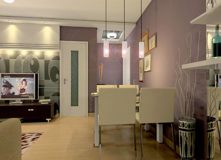 现代简约65平米一居室餐厅装修效果图欣赏