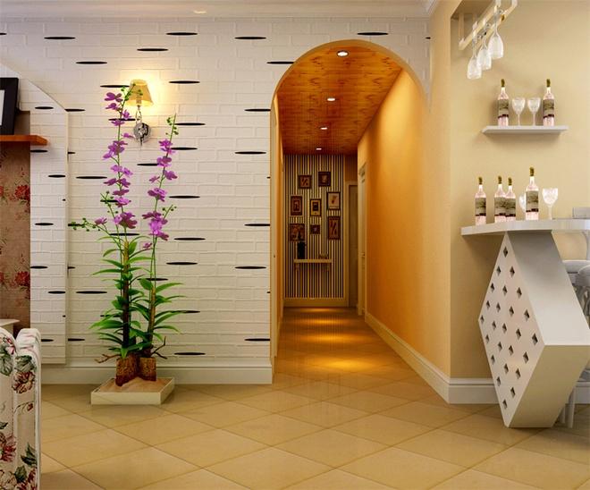 田园风格三居室客厅走廊装修效果图欣赏