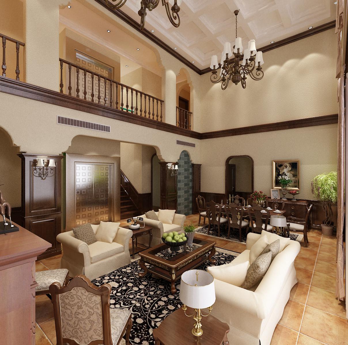 别墅客厅走廊装修效果图欣赏