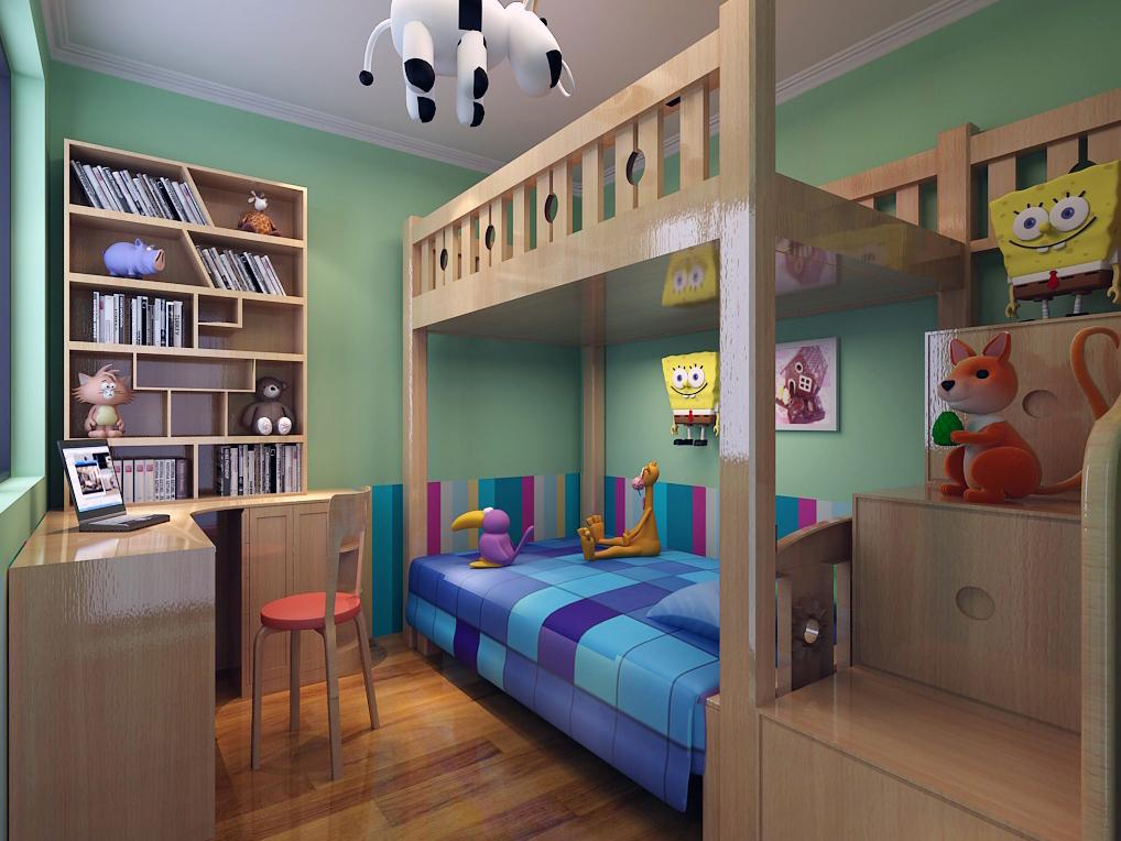田园风格二居室儿童房组合柜装修效果图大全