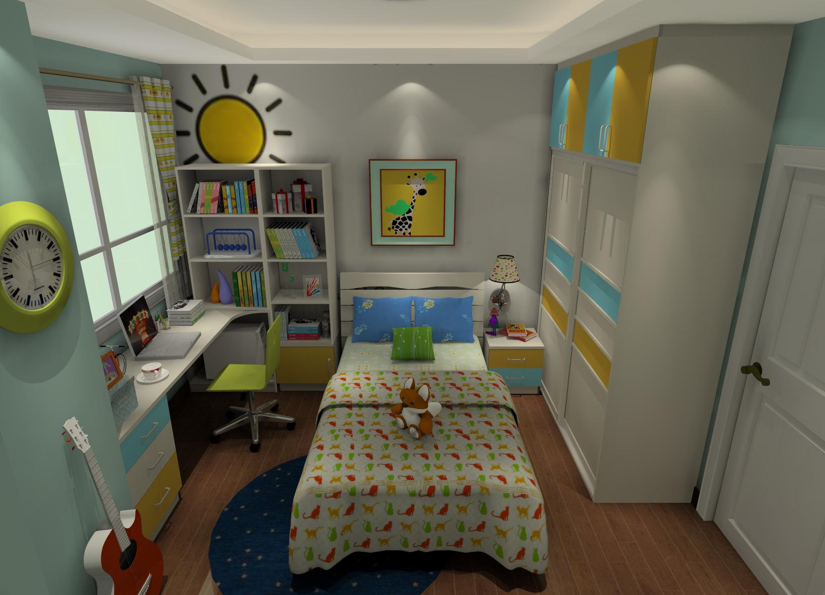 三居室儿童房床头柜装修效果图大全2014图片