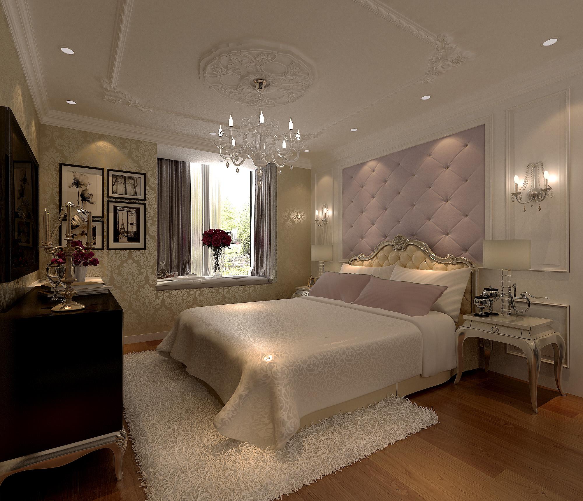 欧美风情三居室卧室背景墙装修效果图大全