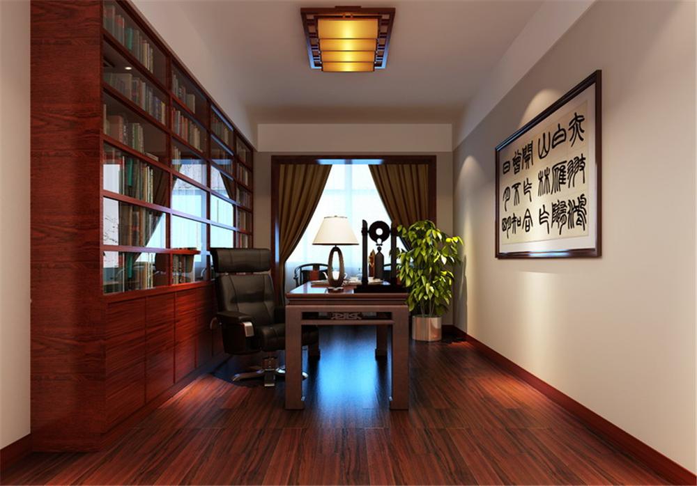 中式古典三居室书房壁纸装修图片