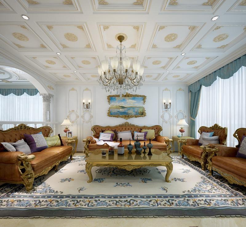 法式风格四居室客厅隔断装修图片欣赏
