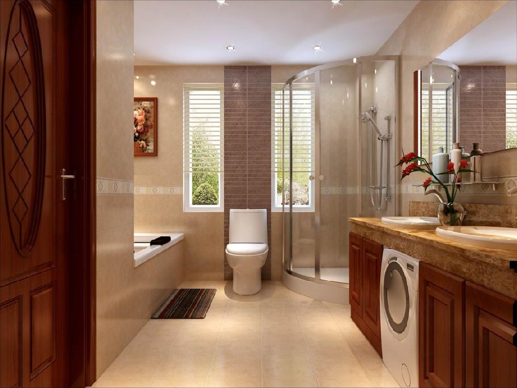 简欧风格四居室卫生间隔断效果图高清图片