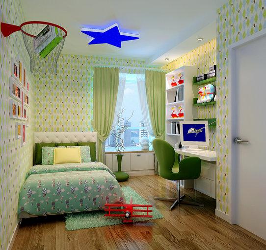 现代简约三居室儿童房书柜效果图