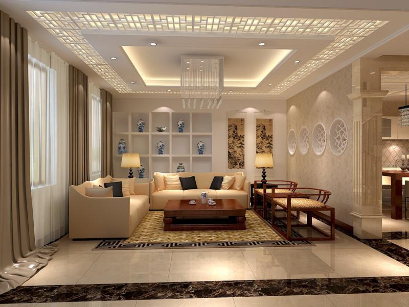 新中式风格四居室客厅背景墙装修效果图欣赏