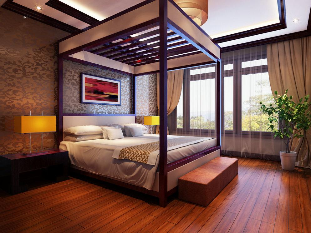 四居室卧室窗帘装修效果图