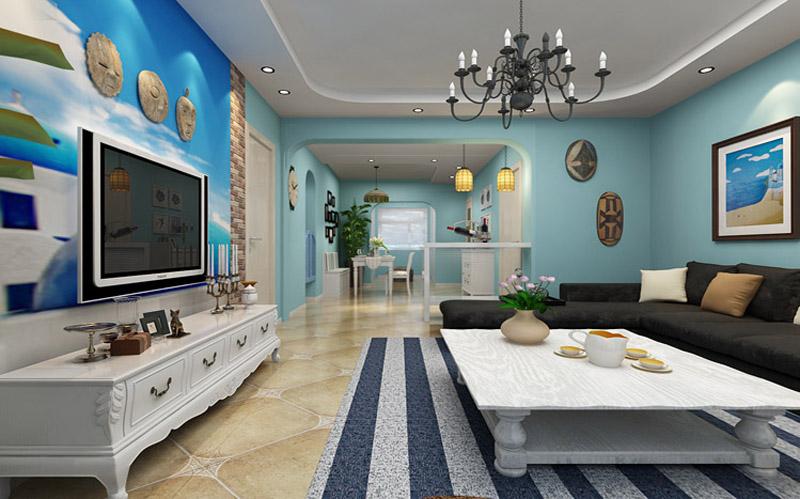 地中海风格二居室客厅吊顶装修图片欣赏