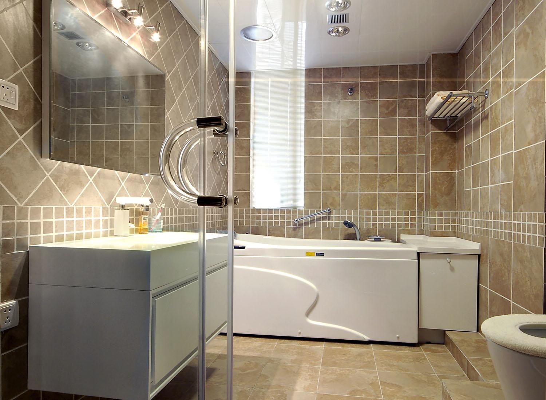 田园风格三居室卫生间浴缸装修效果图欣赏