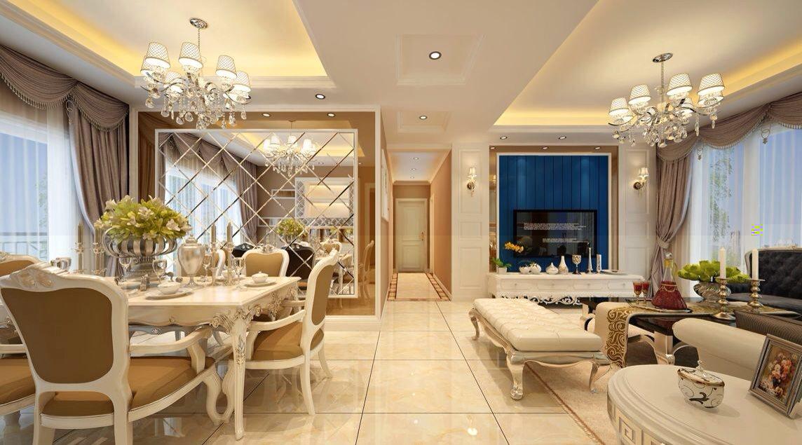 欧美风情二居室客厅餐桌装修效果图欣赏