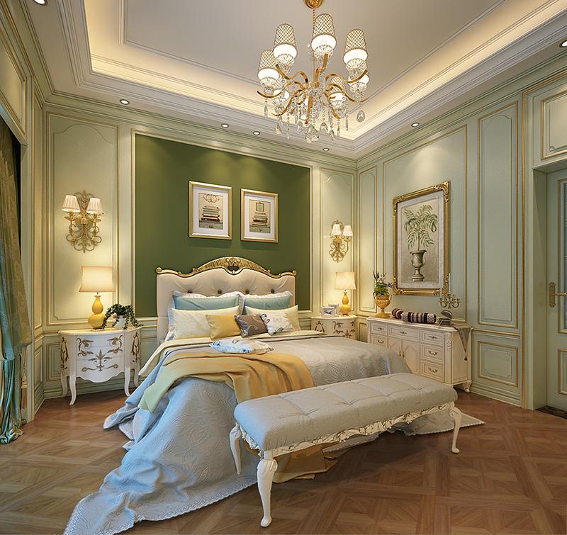 中式新古典四居室卧室吊顶效果图